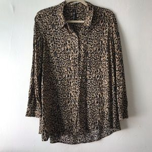 Zara trf Collection Animal Print Button Down Shirt